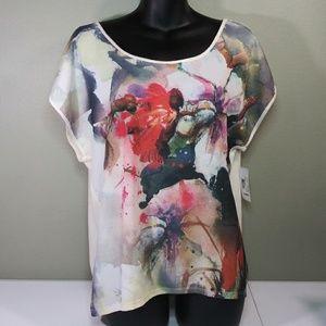 NWT a.n.a Watercolor Floral Print Shirt Size L